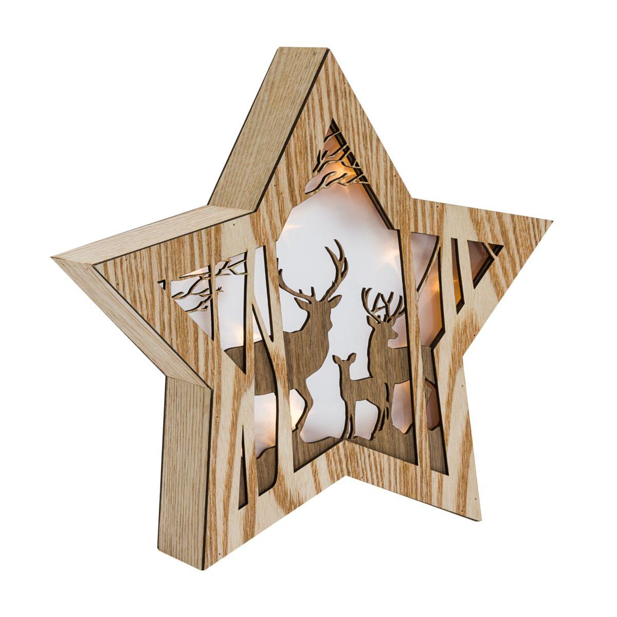 Led deko objekt 3d stern wintertiere beleuchtet ca h27 for Stern beleuchtet weihnachten