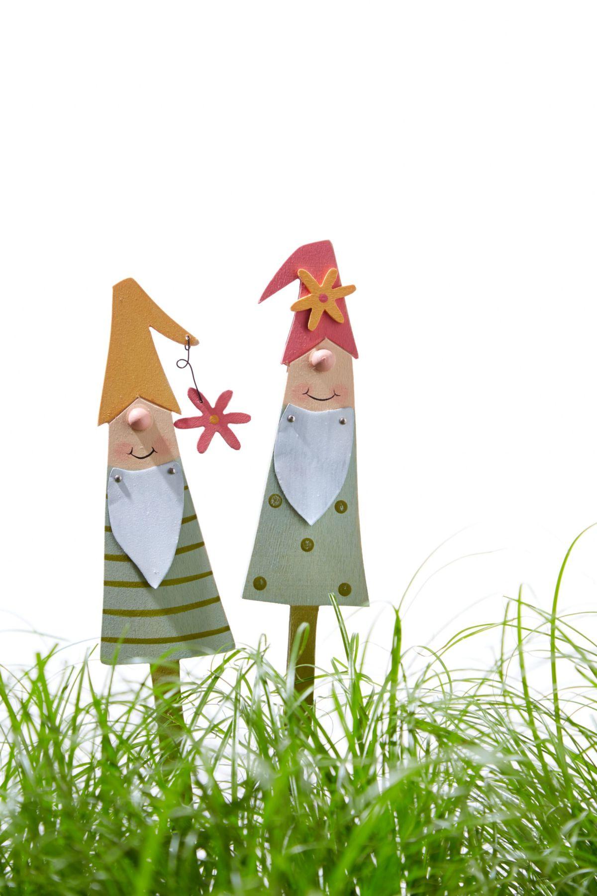 Deko stecker set 2 tlg zwerge rudi willi einfach for Dekostecker weihnachten