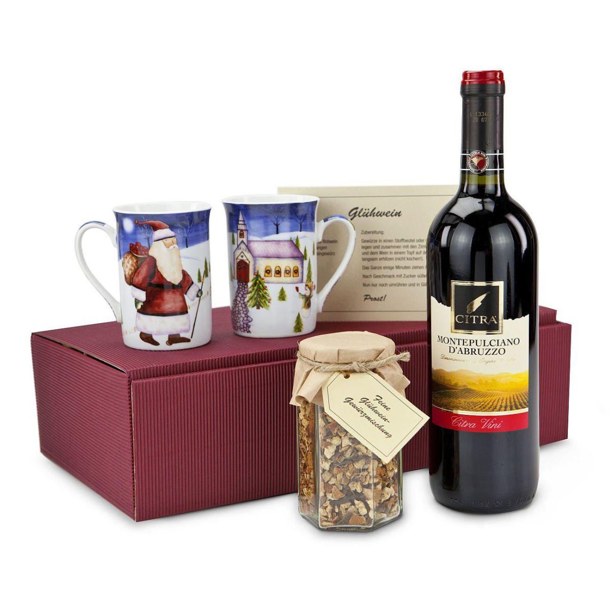 Geschenk-Set, Der rote Glühwein, 1 Flasche Wein, Glühweingewürz, 2 ...
