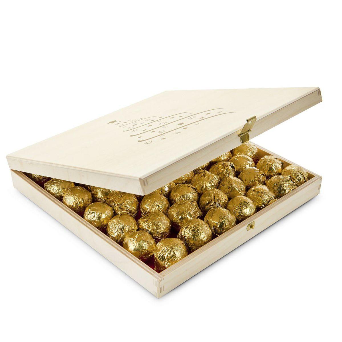 Geschenk-Set Große Trüffel-Kiste, 52 Stück Marc de Champagne Trüffel ...