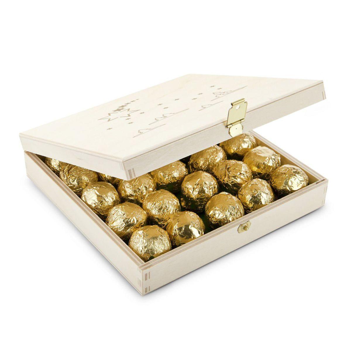 Geschenk-Set Mittlere Trüffel-Kiste, 25 Stück Marc de Champagne ...