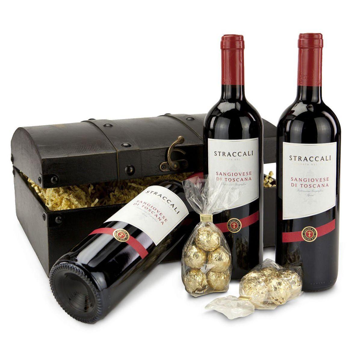 Geschenk-Set Sangiovese-Schatz, 3 Flaschen Wein,10 Marc de Champage ...