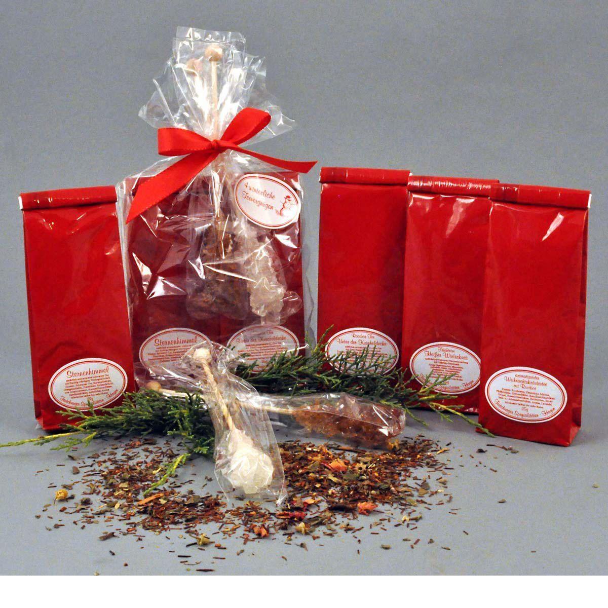 Geschenk-Set Wintertee, 4 verschiedene Teesorten, 4 x 25g Tee, 2 ...