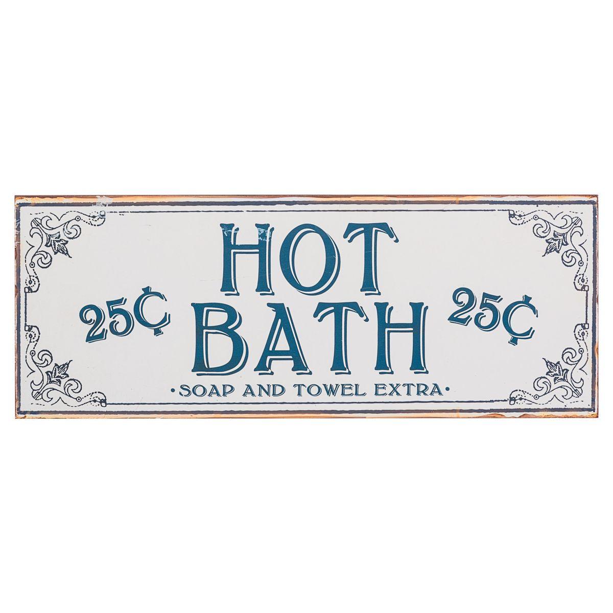 schild hot bath retro look metall einfach geschenke. Black Bedroom Furniture Sets. Home Design Ideas
