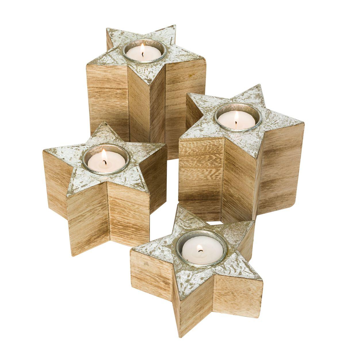 teelichthalter set 4 tlg wood stars mit silberfolie einfach geschenke. Black Bedroom Furniture Sets. Home Design Ideas
