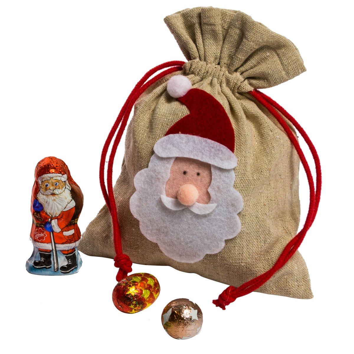 Weihnachtsbeutel Santa, gefüllt mit 50g Schokolade, inkl. ca. 50g ...