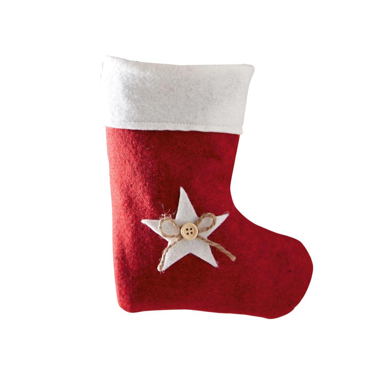 Weihnachtssocke Stern, Filz 20 x 16 cm - einfach-geschenke-finden.de