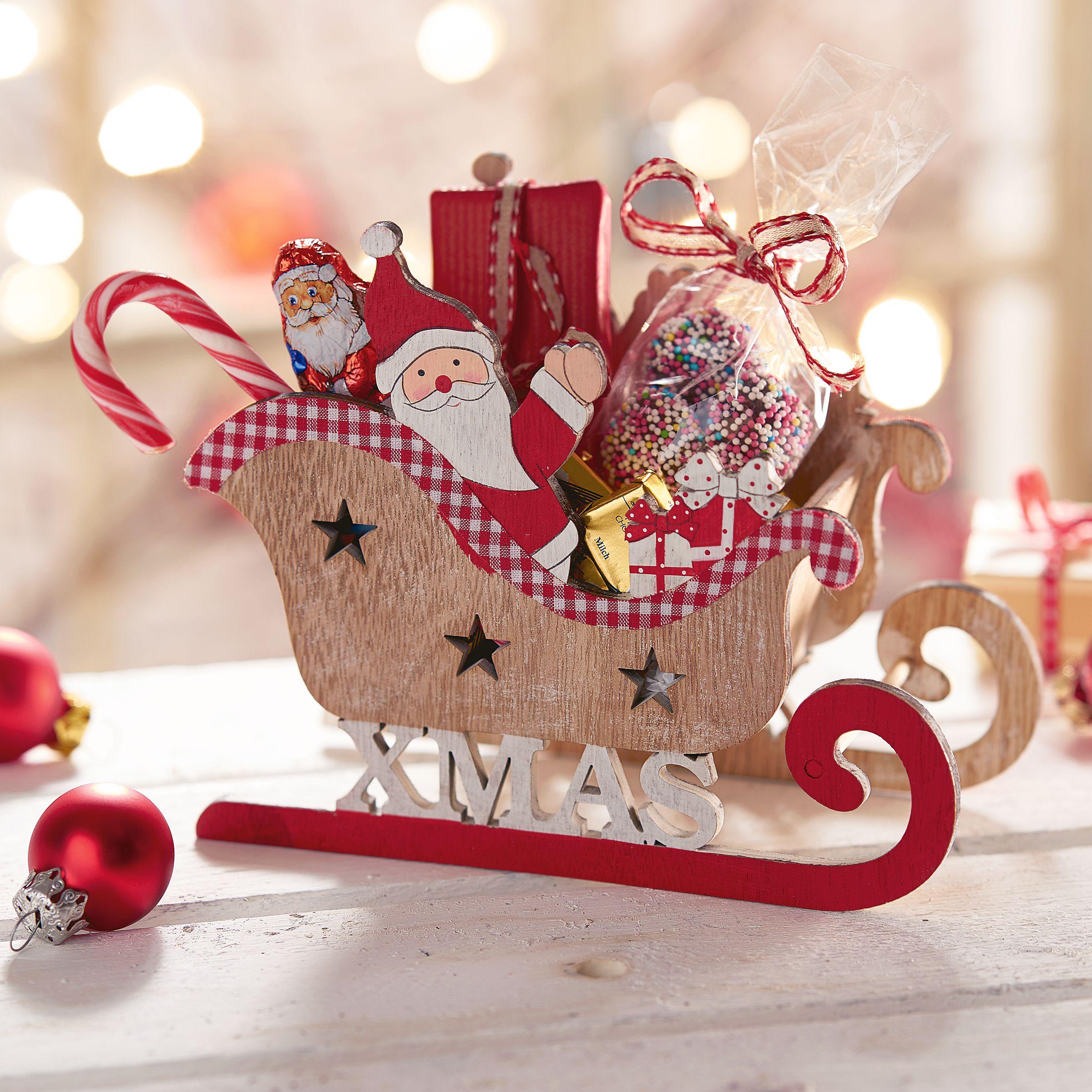 Deko-Objekt Weihnachtsschlitten Santa - einfach-geschenke-finden.de