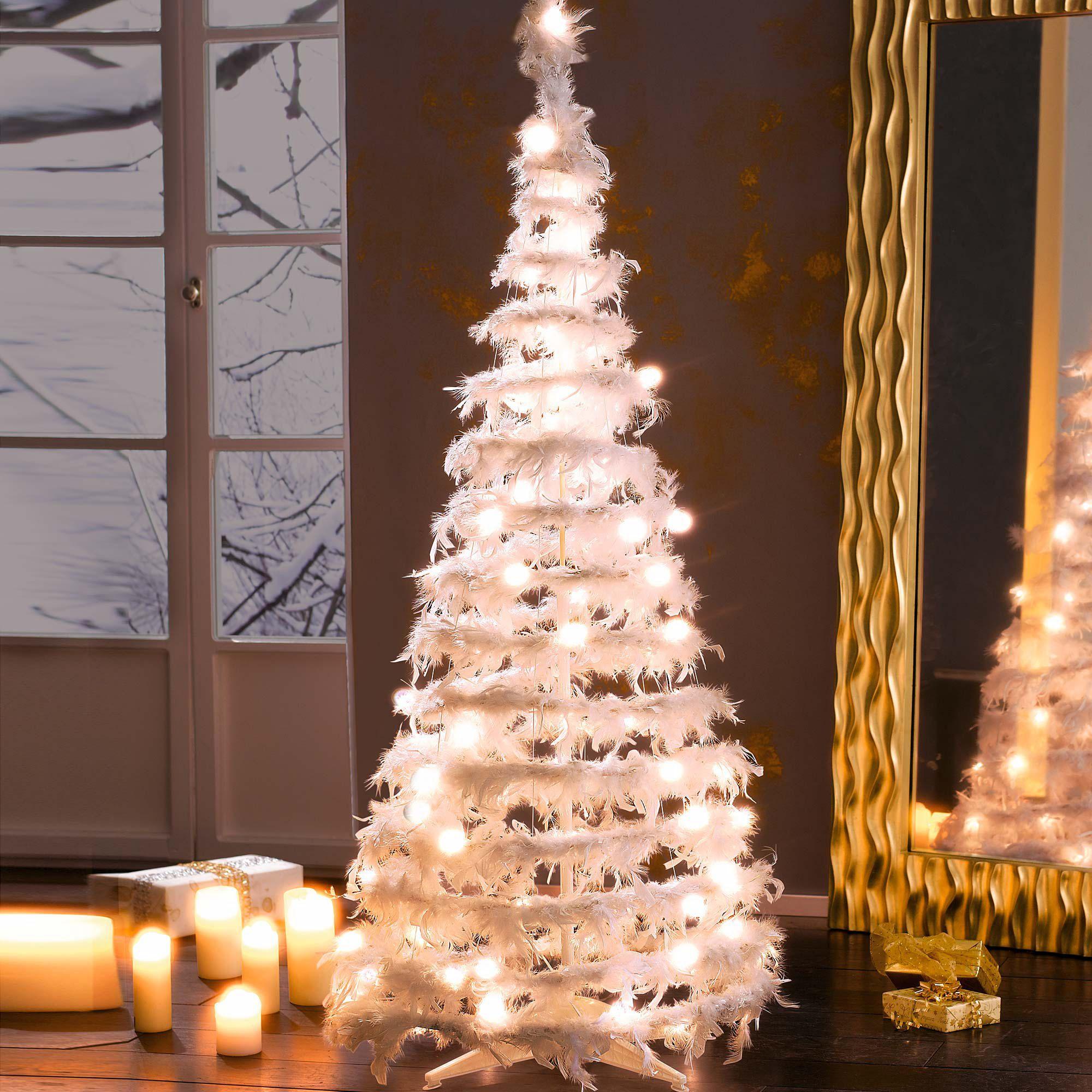 deko objekt federtannenbaum beleuchtet federn einfach. Black Bedroom Furniture Sets. Home Design Ideas