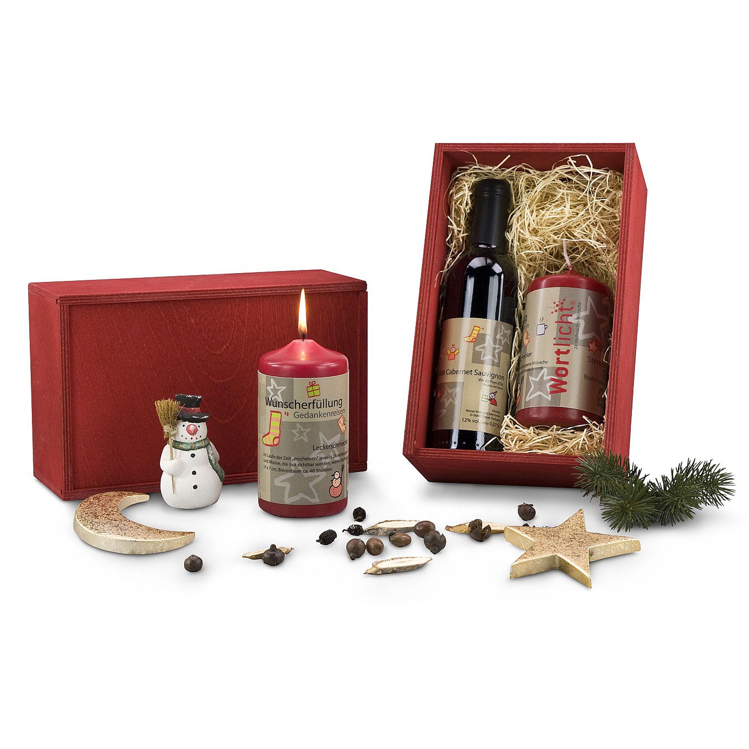 Kerze & Wein Weihnachts-Set - einfach-geschenke-finden.de
