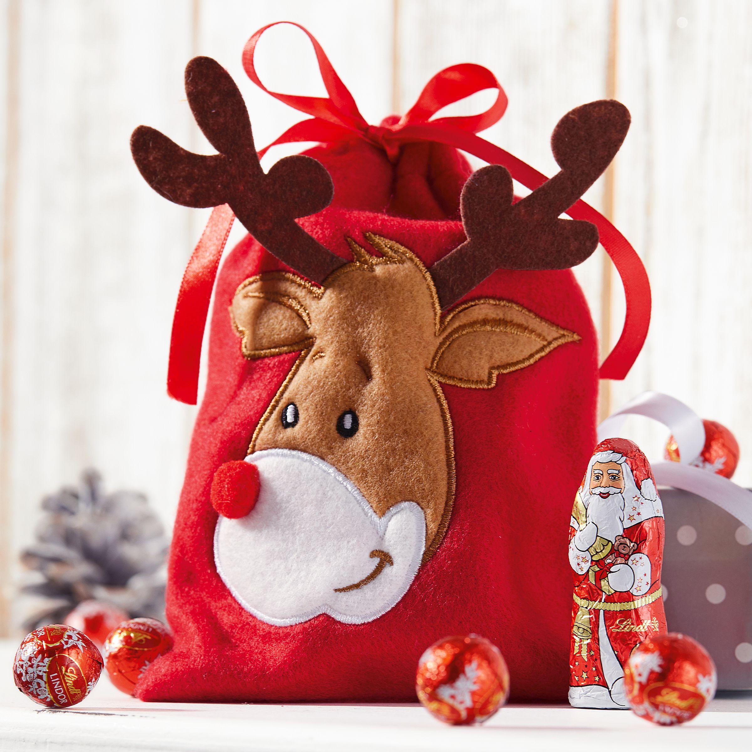 Weihnachtsbeutel Rudi, 100% Polyester, ca. 13 x 17 cm - einfach ...