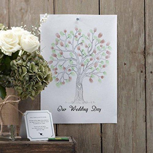 Wedding Tree für die Fingerabdrücke Ihrer Hochzeitsgäste – originelle Erinnerung an Ihre Hochzeit & witziges Hochzeitsgeschenk